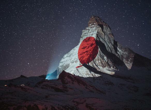 Light art on Matterhorn sends signs of hope